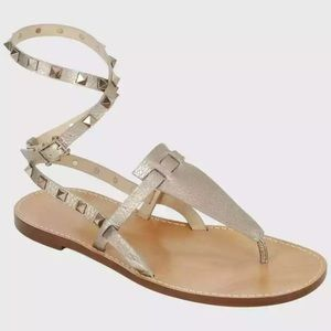 Valentino Rockstud Alce Ankle Strap Thong Sandals